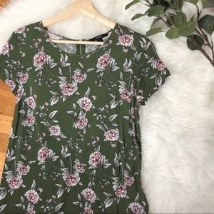 Forever 21 green short sleeved floral dress